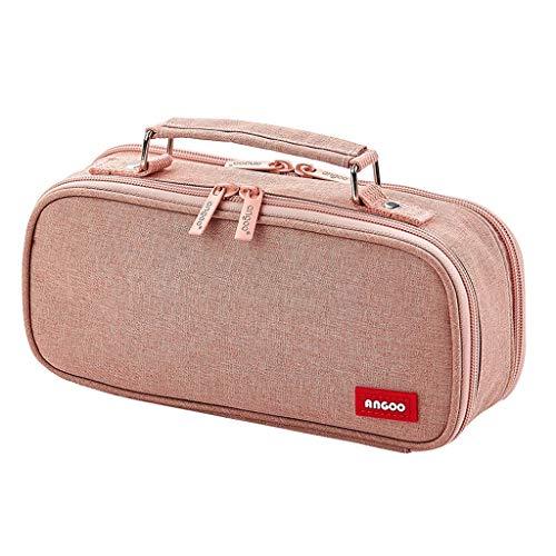Estuches Bolsa Lápiz De Gran Capacidad de la Caja de lápiz de Escritorio portátil Multifuncional Bolsa con Varios compartimientos de Almacenamiento de papelería Bolsa Gran Capacidad (Color : Pink)