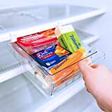 SQUAREBOX Refrigerator Pull Out Drawer Organizer   Refrigerator Deli Drawers   8 Grid Pull Out Fridge Storage Drawer   Clear Plastic Pantry Food Storage Drawer   Includes Set of Refrigerator Mats