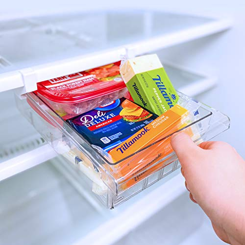 SQUAREBOX Refrigerator Pull Out Drawer Organizer | Refrigerator Deli Drawers | 8 Grid Pull Out Fridge Storage Drawer | Clear Plastic Pantry Food Storage Drawer | Includes Set of Refrigerator Mats