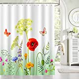Bonhause Duschvorhang 180 x 180 cm Garten Blume Frühling Schmetterling Duschvorhänge Anti-Schimmel Wasserdicht Polyester Stoff Waschbar Bad Vorhang für Badzimmer mit 12 Duschvorhangringen