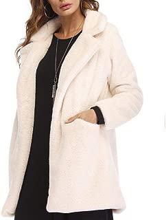 Weixinbuy Women's Long Sleeve Lapel Faux Fur Winter Warm Coat Jacket Overcoat Outwear with Pockets