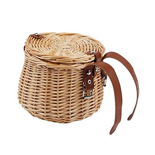 Cesta de bicicleta para niños, cesta delantera para bicicleta infantil, cesta de mimbre tejida a mano, cesta de mimbre con correa de piel y tapa, para accesorios de bicicleta 15 x 15 x 18 cm