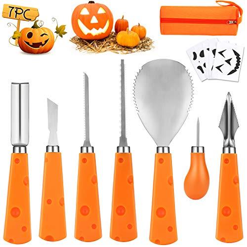 WOTEK Kürbis Schnitzset, Halloween Kürbis Schnitzwerkzeug, Kinder Schnitzmesser, Messer Schnitzen für DIY...