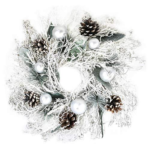 By Robelli - Ghirlande per porta natalizie, in legno, stile shabby chic, colore rosa, blu, pigne, effetto neve, albero (35 cm bianco effetto neve con pallina e pignone argentato)