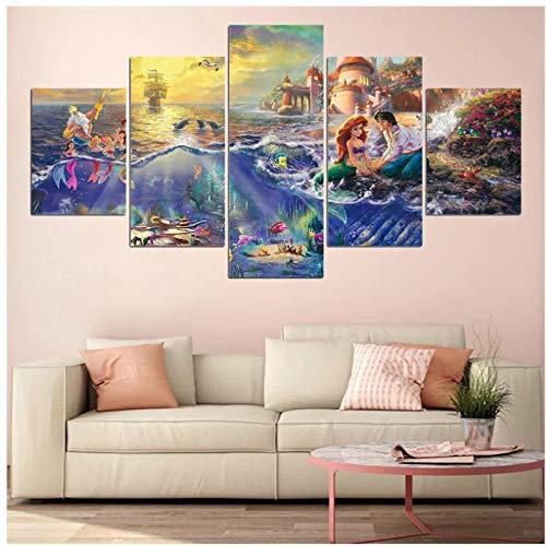 SYBS decoración 5 Piezas HD ImpresoDibujos Animados Little Mermaid Pintura Lienzo Imagen de Arte de Pared para Sala de Estar Decoración Moderna del hogar -40x60x2pcs 40x80x2pcs 40x100cm Sin Marco