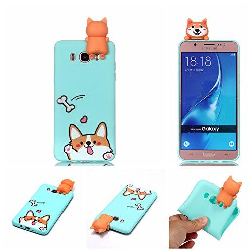 HopMore Funda para Samsung Galaxy J7 2016 Silicona Motivo 3D Divertidas Unicornio Panda Bonita TPU Gel Ultrafina Slim Case Antigolpes Cover Protección Carcasa Dibujo Gracioso - Perro