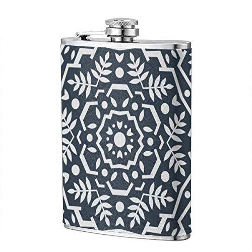 Trinkflaschen für Alkohol, abstraktes orientalisches Muster. Moderne Form. Endloser Vektor. Edelstahl Flachmann für Schnaps für Männer