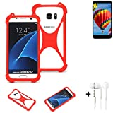 K-S-Trade® Handyhülle + Kopfhörer Für Vestel V3 5030 Schutzhülle Bumper Silikon Schutz Hülle Cover Case Silikoncase Silikonbumper TPU Softcase Smartphone, Rot (1x),