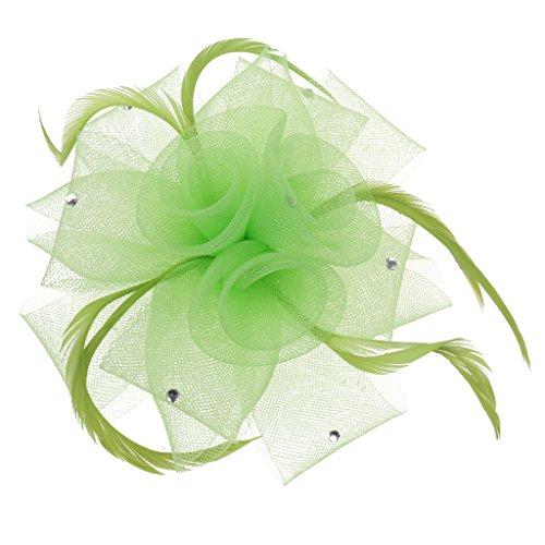 Pince à Cheveux Fleur Maille Plume Coiffure de Mariée Mariage - Vert Citron