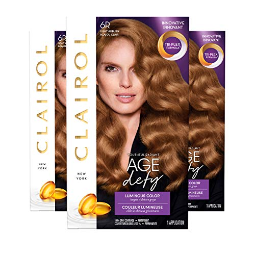 Clairol Age Defy Permanent Hair Color, 6R Light Auburn, 3 Count