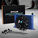 New 15 Row 10AN Universal Engine Blue Transmission Oil Cooler + 7' Electric Fan Mount Kit