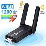 NEKAN Adaptador WiFi, USB 3.0 AC 1200Mbps Dongle 802.11 con Dual Band 5Ghz / 2.4Ghz, Antena de Alta Ganancia de 5dBi WiFi Receptor para PC Desktop Tablet, Compatible con Windows XP/7/8/8.1/10.