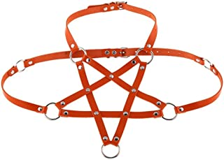 LIFANG Black Belt Pu Leather Pentagram Harness Body Chain Female Bondage Goth Party Belt Rope Festival Costume Punk Jewelry (Color : Orange)