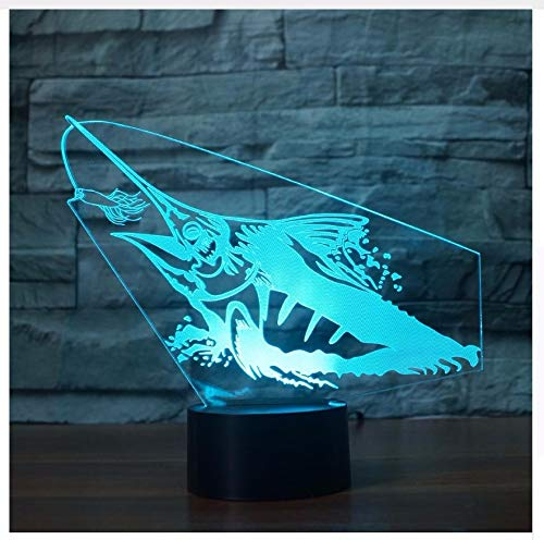 3D Vision Catching Fish Table Lamp Decor Led s 7 Colors Changing USB Fishing Enthusiast Sleep Night Lights Light Box Children's Day Gift