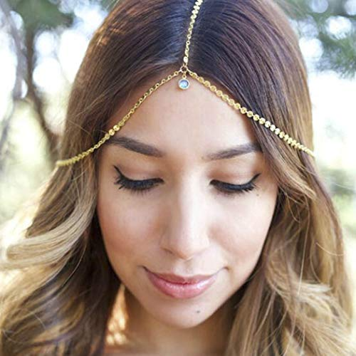 Yean Gold Sequins Head Chain Crystal Headpiece Rhinestone Pendant Festival Forehead Jewelry for Women and Girls