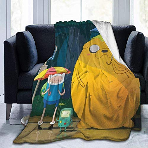 Couverture de jet de pet Adventure Time Finn Jak Couvertures de jet de voyage Micro Sherpa Fleece Couverture chaude ultra douce et chaude pour le printemps d'hiver Convient au canapé-lit 80x60 pouces