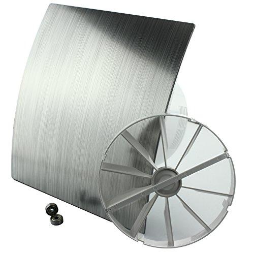 MKK - 18150-002 - DUO Design Badlüfter Wandlüfter Leise Rückstauklappe Kugellager Nachlauf Ø 100 mm Silber gebürstet