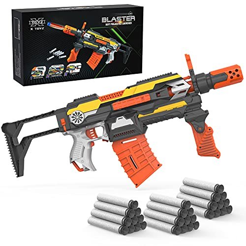 XTOYZ Motorized Blaster Toy Gun, Automatic Foam Darts Blaster Shooting Toy Guns with 30 Darts, Compatible with Nerf Guns, DIY Assembled Toy Gun Set for 6+ Age Kids, Multi-Style Game for Boys & Girls