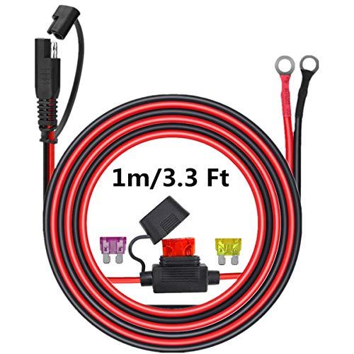 Connecteur SAE au fil de harnais terminal à joint torique, câble d'extension à déconnexion rapide à cosse 2 broches, cordon de charge de borne à oeillet pour moto, voiture et tracteur