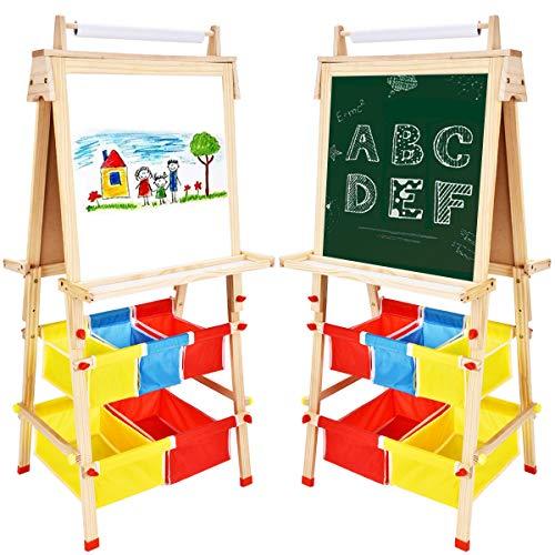 Arkmiido Tafel Holz Kinder Staffelei,Kiefer Holz Kindertafel mit Magnetische Zubehör Papierrolle Paint Cups Spieltafel für Kinder ab Jahre Jungen Mädchen