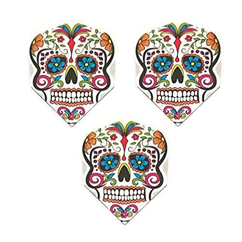 Art Attack 9 Pack Harrows Quadro Sugar Skull Day of The Dead 75 Micron Strong Standard Dart Flights