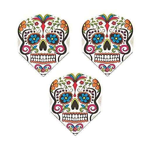 Art Attack Harrows Quadro Sugar Skull Day of The Dead Dart-Flights, 75 Mikron stark, Standard-Dart-Flights, 9 Stück