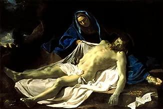Cristo Morto no Colo da Virgem Maria 1643 Pintura de Charles Le Brun na Tela em Vários Tamanhos (80 cm X 53 cm tamanho da imagem)