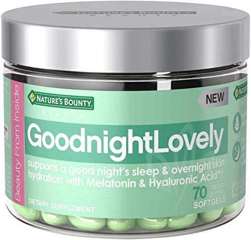 Natures Bounty Goodnightlovely Vitamins, with Melatonin & Hyaluronic Acid, Supports Overnight Skin Hydration & Good Nights Sleep*, 70 Softgels