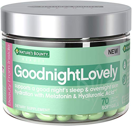 Nature's Bounty Goodnightlovely Vitamins, with Melatonin & Hyaluronic Acid, Supports Overnight Skin Hydration & Good Night's Sleep*, 70 Softgels