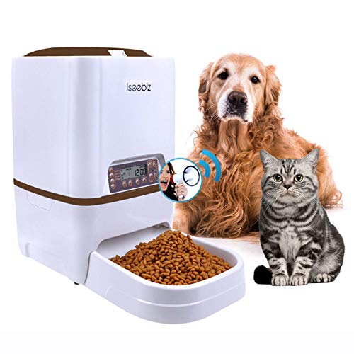 Iseebiz Automatic Pet Feeder, Cat Dog Food Dispenser 6 Liter Hopper with Voice Recorder, Timer Programmable, Portion Control, Food Dispense Remind, IR Detect, 4 Meals a Day for Medium Large Cats Dogs