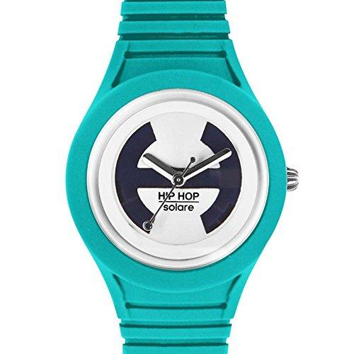 Hip Hop Watches - Orologio da Donna Orchid Bouquet HWU0540 - Collezione Solare - Cinturino in Silicone - Impermeabile 5 ATM - Cassa 34mm - Verde Acqua