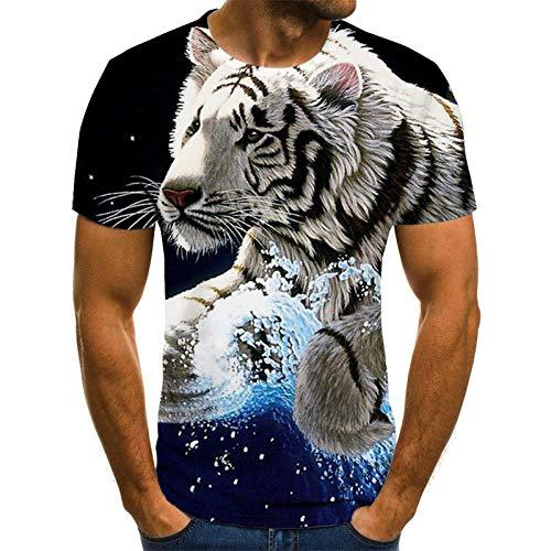 Dieren Unisex T Shirt Zomer 3D Gedrukt Korte Mouw Wit Tijger Snelle Droge Casual Losse Blouse Nieuwigheid 3DT
