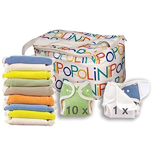 Popolini Windelset OneSize Rainbow Set Soft 10x Windel + 10x Einlagen + 1 Überhose