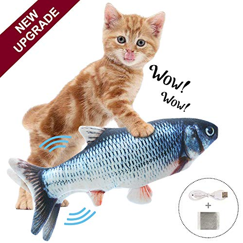 HAIRKER Moving Fish Interactive Cat Toy, Electric Wiggle Fish Catnip Toys, Realistic Plush Flopping Fish, Funny Pets Chew Bite Supplies, Perfect for Cat/Kitty/Kitten Exercise