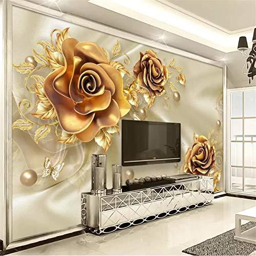 Apoart Papel Pintado Mural Lujo Joyería De Oro Flor Seda Joyería Tv Fondo Pared Salón Dormitorio Papel Tapiz 3D350Cmx245Cm