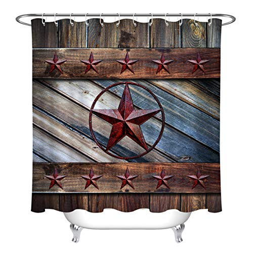 LB Rustic Old Wood Shower Curtain for Bathroom Western Texas Star Cowboy Style Brown Barn Door Primitive Berries on Country Wooden Bathroom Decor,70W x 78L Extra Long,with 12 Shower Curtain Rings