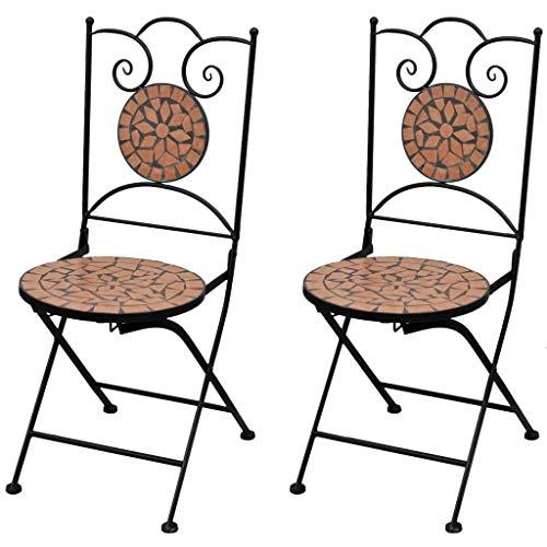 Cikonielf 2 sillas plegables con decoración de mosaico, sillas de restaurante, sillas de exterior para balcón, terraza o jardín, 37 x 44 x 89 cm, terracota