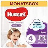 Huggies Ultra Comfort Pants Größe 4, 9 bis 14 kg, Für aktive Kinder, Mit Nässeindikator und Wolken-Taillenbündchen-Technologie, 144 Windeln, Monatsbox, Monatspack, Großpackung