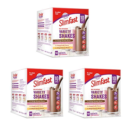 SlimFast Variety Shakes Sachets Assorted Box, Pack of 3 Boxes (30 Sachets), Packaging May Vary
