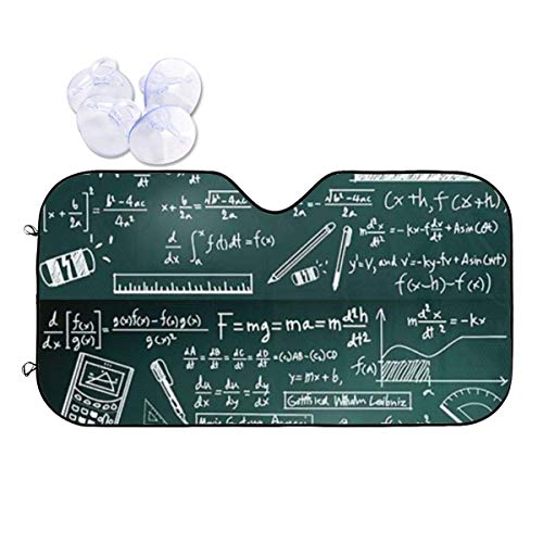 JONINOT Teoría de la Ley del cálculo y fórmula matemática Parabrisas del Coche Parasol Poliéster Bloquea el Calor y el Sol,