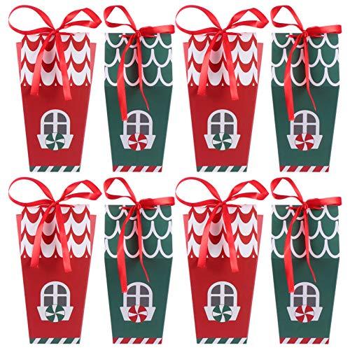NICEXMAS 8 Piezas Cajas de Dulces Navideñas Cajas de Regalo con Forma de Casa de Navidad Cajas de Golosinas Cajas de Regalos para Fiestas Cajas de Papel de Cartón Navideño Suministros para