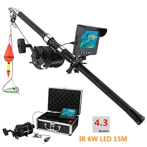 shengshiyujia 4,3 Pulgadas LCD Monitor Pesca subacuática cámara de vídeo buscador de Peces DVR grabación para, con 6 PCS 1W IR Leds, la Longitud de la cámara Disponible Cable de extensión: 15M