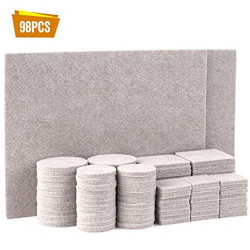 TYEERS Filz-Gleiter-Sortiment 98 tlg. Filzgleiter Selbstklebend Set Effektiver Schutz für Ihrer Möbel, Stühle und Tische - Beige