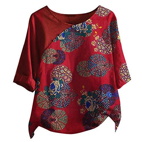 Rosennie Frauen Herbst Tops Leinenbluse Damen Leinen T-Shirt Bluse Übergröße Knopf Halbarm T-Shirt Retro Blumendruck Oberteile Hemd Casual Sommertop Blusentops