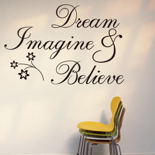 Witkey Dream Imagine and Believe Inspirational Wall Decal Stickers Quotes saying and words DIY Home Decor Vinyl Wall Murals Art Decor Room Home Decoration