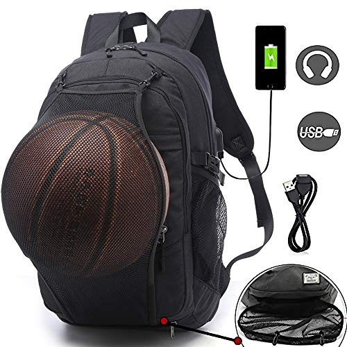Sports Basketball Backpacks Bags for Laptop, Soccer with Ball Compartment Black