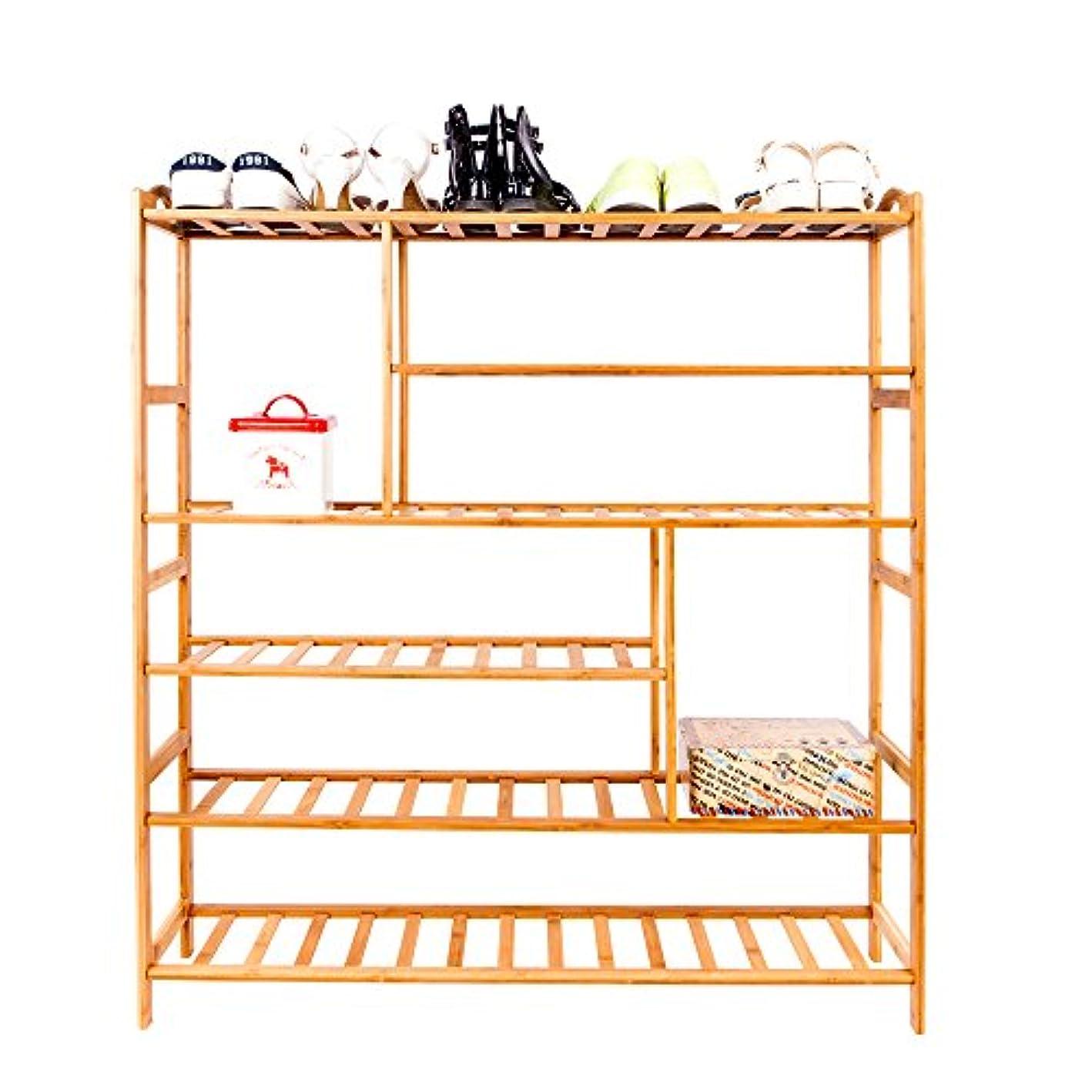 Cogihome 6 Tiers 30 Pairs Bamboo Shoe Rack, Mutifunctional Shoe Storage Organizer Book Shelf Display Racks Closets for Entry Hallway, Bedroom, Balcony