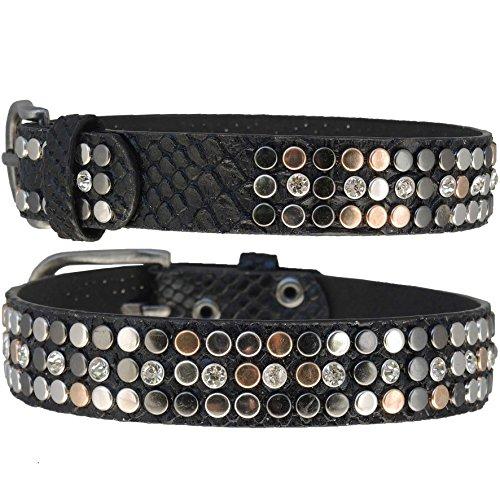 GlamIt Fashion 1 Paar Stiefelbänder in Reptiloptik mit Strass-Nieten (schwarz)