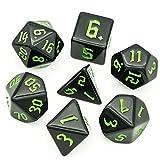 Pen and Paper - Juego de dados (7 piezas, edición Midnight, dados poliédricos, para Dungeons and Dragons (D&D), el coche negro (DSA), Aborea, Splittermond, Shadowrun (verde)