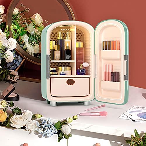 S SMAUTOP Mini Makeup Beauty KüHlschrank,12L Kosmetik Kühlschrank, 220V Skincare Fridge,Outdoor Kühlschrank(Grün )
